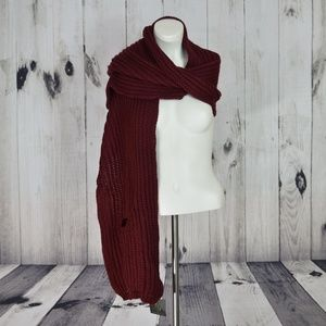 Burgundy Scarf with Pockets